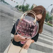2018 Women Transparent Bag Clear PVC Jelly Circle Tote Messenger Bags Laser Shoulder Bags Female Lady Contrast Color Chains Bag. цена 2017