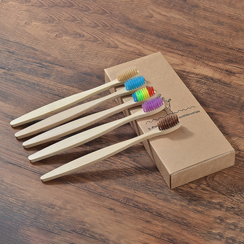 5-Pack colorful soft bristles bamboo toothbrushes wholesale eco friendly Oral Care tooth brush wooden bamboo clareador de dente