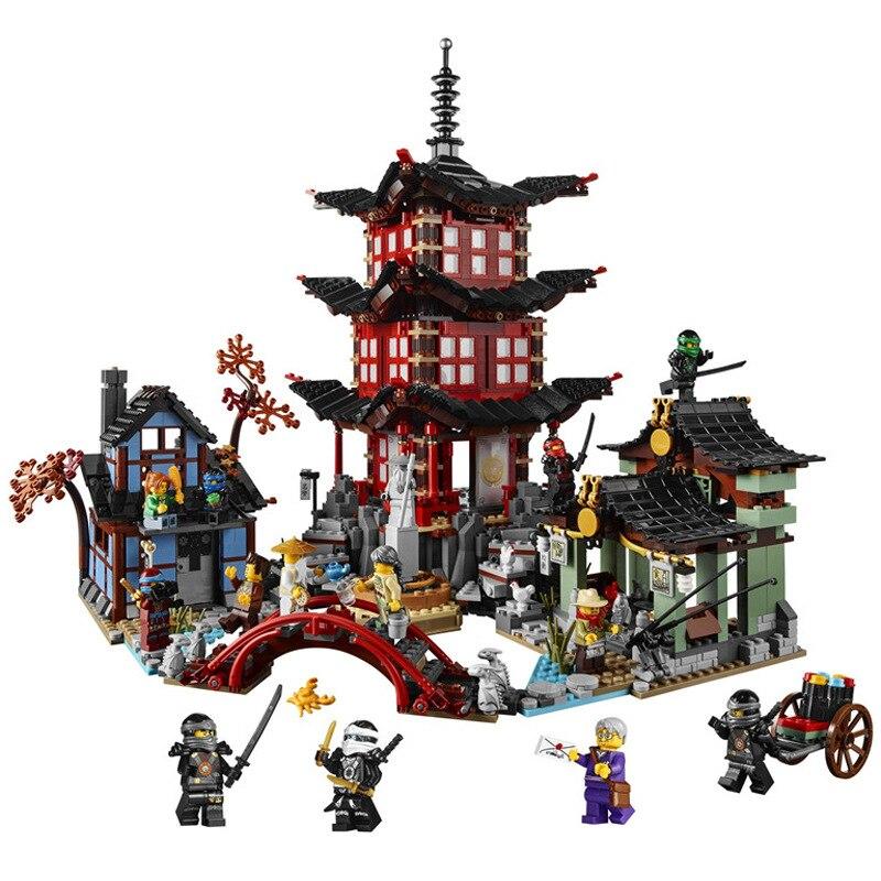 737 piezas de Ninja Templo de Airjitzu Ninjagoes versión más pequeña conjunto de bloques de construcción compatible con Legoingly juguetes para los niños ladrillos