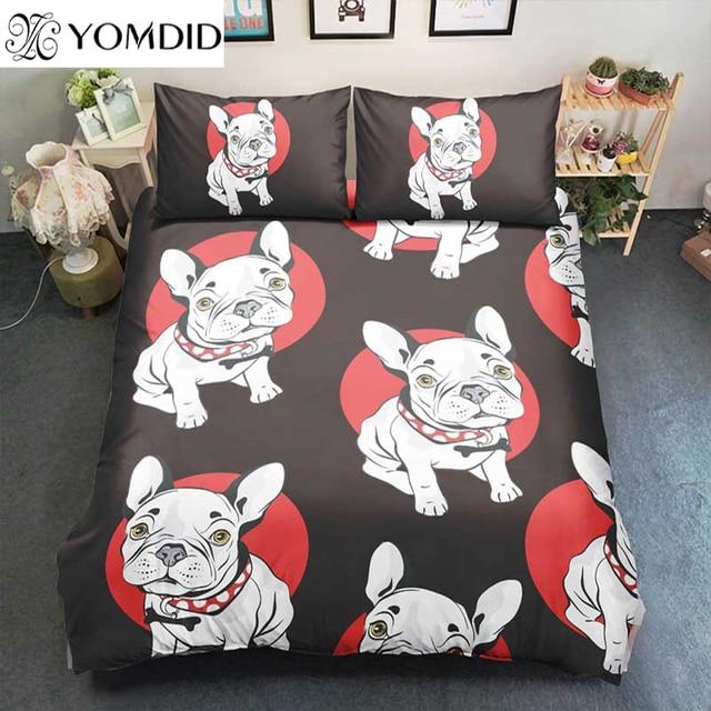 Bull Dog Duvet Cover Sets Printed Small Puppy Bedding Set Duvet