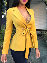 M bow tie decorated long-sleeved slim suit jacket new fashion office professional ladies