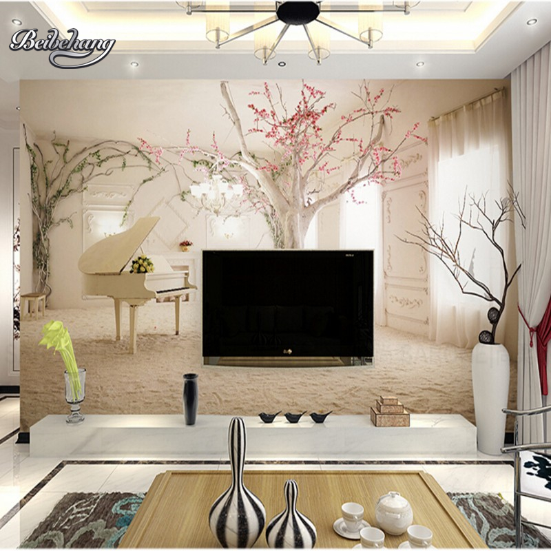 Beibehang 3d piano comfortable interior space large mural for 3d interior wall murals