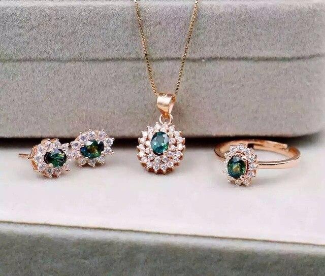 9fddea55b9f4 Natural azul zafiro piedra joyería de la boda conjuntos collar pendientes  de plata S925 mujeres anillo