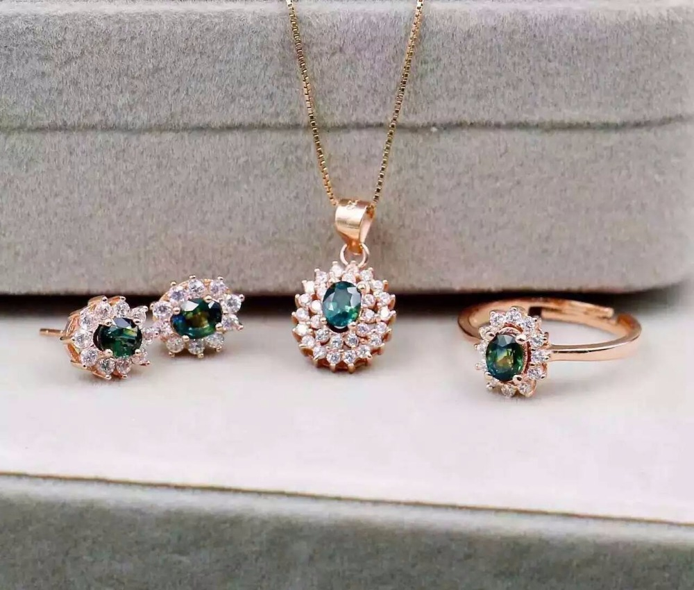 Natural blue sapphire stone wedding jewelry sets natural gemstone ring necklace earrings S925 silver women Fashion Diana round
