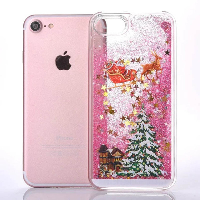 KMAX Phone Hard Case Christmas Gift For iPhone 5 5s 5se 6 6S 7 8 Plus For Samsung S5 S6 S7 Edge Glitter Liquid Quicksand cheap 2