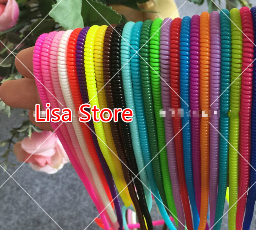 FreeShip 200pcs Plastic spring Protective sleeve Mobile Tablet Spiral Cord Protector for Cell