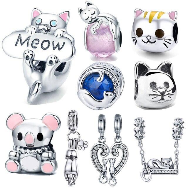 INBEAUT новый модный 925 стерлингового серебра Прекрасный озорной CZ Кот талисманы милые маленькие бусины в форме животных подходят оригинальны...