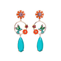 Yuan Shuo European American Retro Style Jewelry Personalized Lady Earrings Bird Flowers Semi Precious Stones Pendant