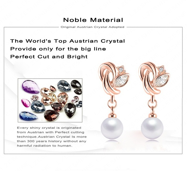 Rose Gold Plated Imitation Pearl Earrings with Austrian Zircon Crystals