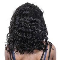 Короткие полный Синтетические волосы на кружеве человеческих волос парики свободные волна 13X6 короткий боб парики для женский, черный брази
