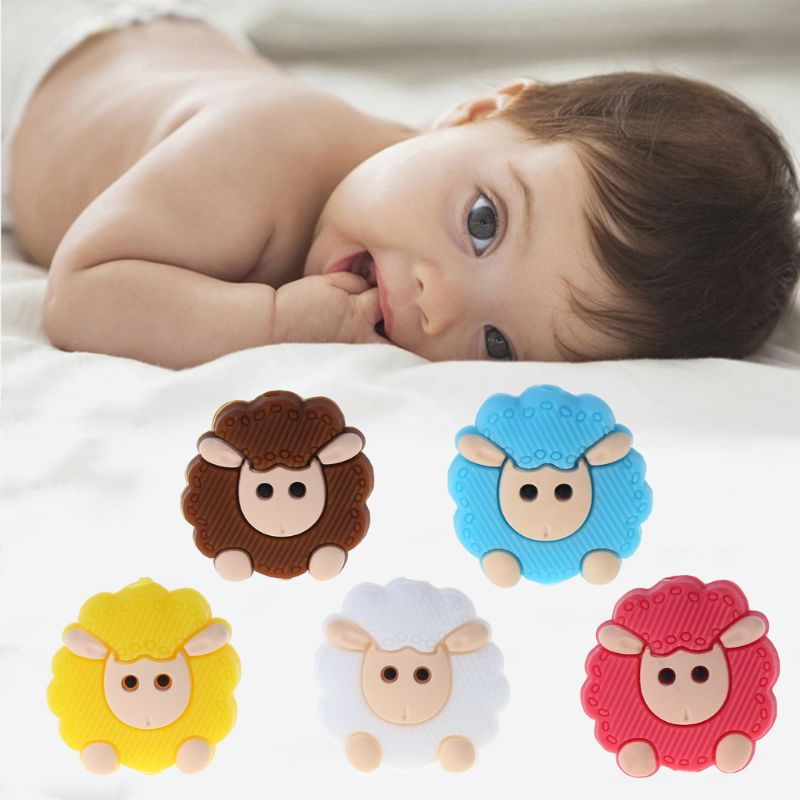 Baby Cartoon Sheep Baby Food Grade Silicone Beads Teether Massage For Teeth Rodent Teethers Baby Teething Infans Baby Accessory