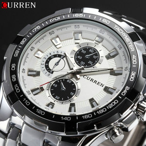 Image 1 - 2018 New Curren Luxury Brand Watches Men Quartz Fashion Casual Male Sports Watch Full Steel Military Watches Relogio Masculino