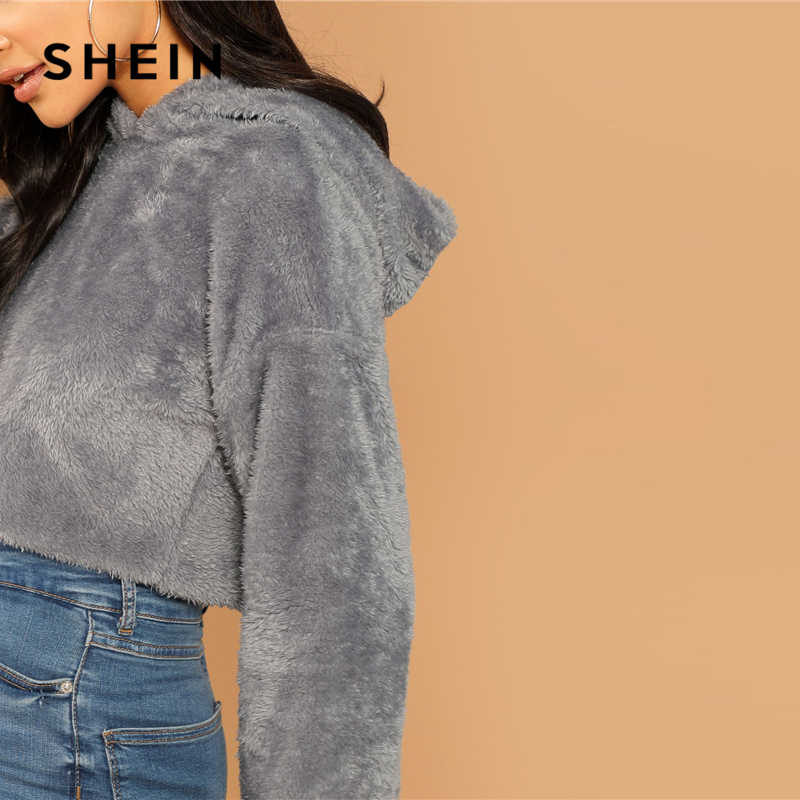 68a90ab9d9 ... SHEIN Grey Minimalist Solid Drop Shoulder Crop Teddy Hoodie Sweatshirt  Autumn Casual Fashion Women Pullovers Sweatshirts ...