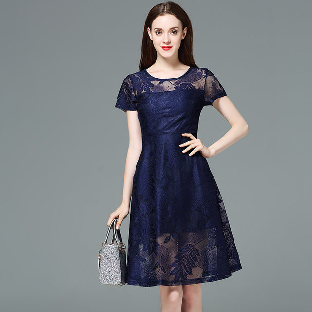 2019 European and American design women hollow lace A line dresses ...