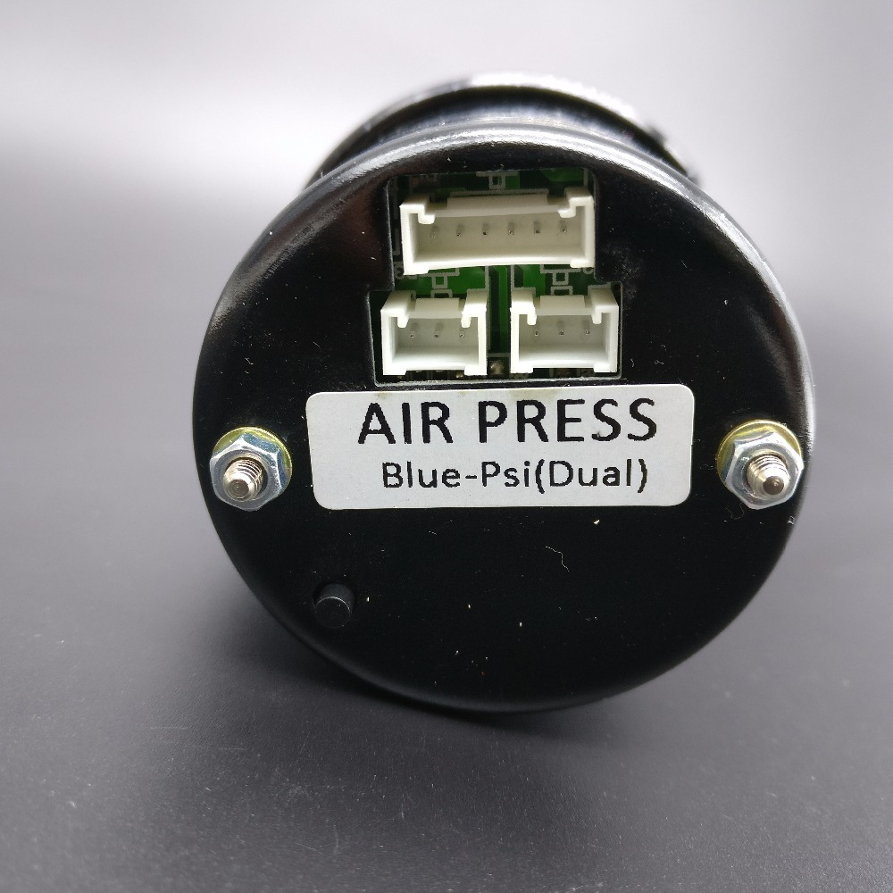 smoke lens 52mm digital Dual reading Air Pressure Gauge BLUE LED PSI ...