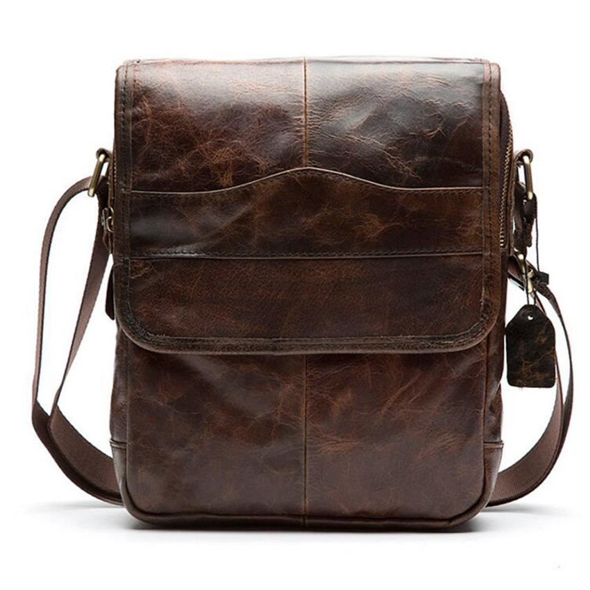 89247f7bc65f Vintage Messenger bag men s shoulder bag Genuine Leather strap Small Casual  Flap Male Crossbody Bags Business