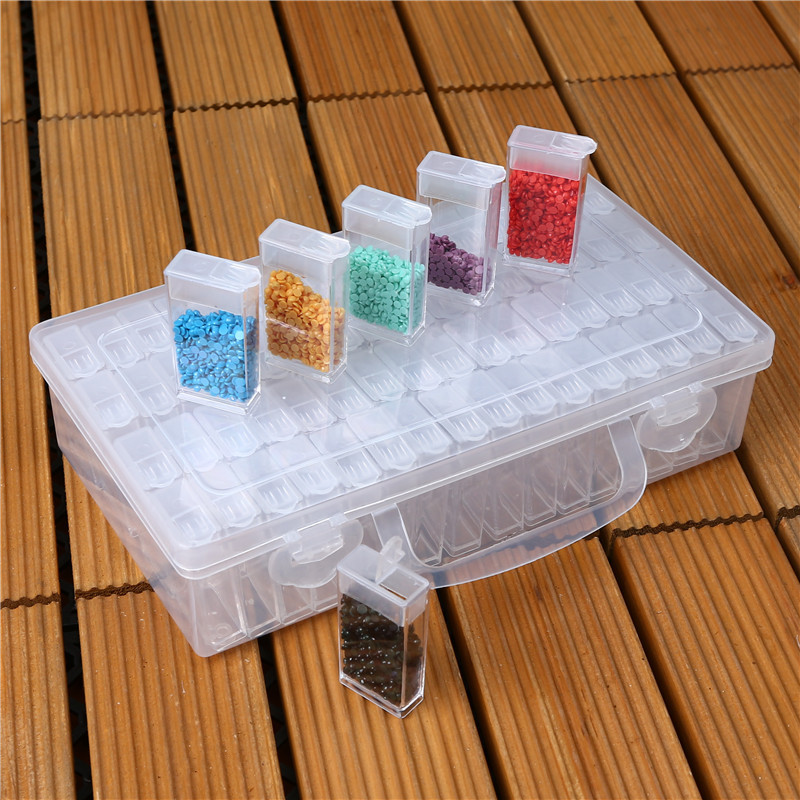 42/64 Multiple Cells Storage Box For DIY Diamond Painting Embroidery Handwork Sewing Jewelry Beads Buttons Storage Box Organizer