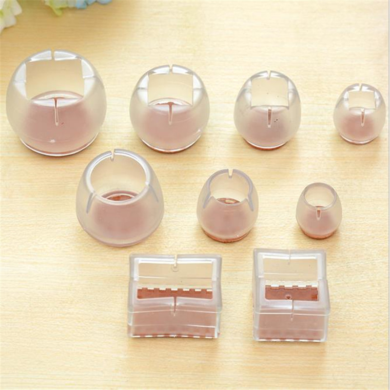 8Pcs Furniture Table Chair Leg Floor Feet Cap Cover Protector Transparent 5 Sizes