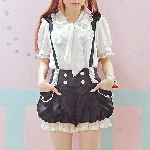 Sort / Pink Kawaii Overalls Sommer Ny Lace Flounces Double Breasted Lantern Suspender Shorts Lolita Sweet Jumpsuits Cute Rompers