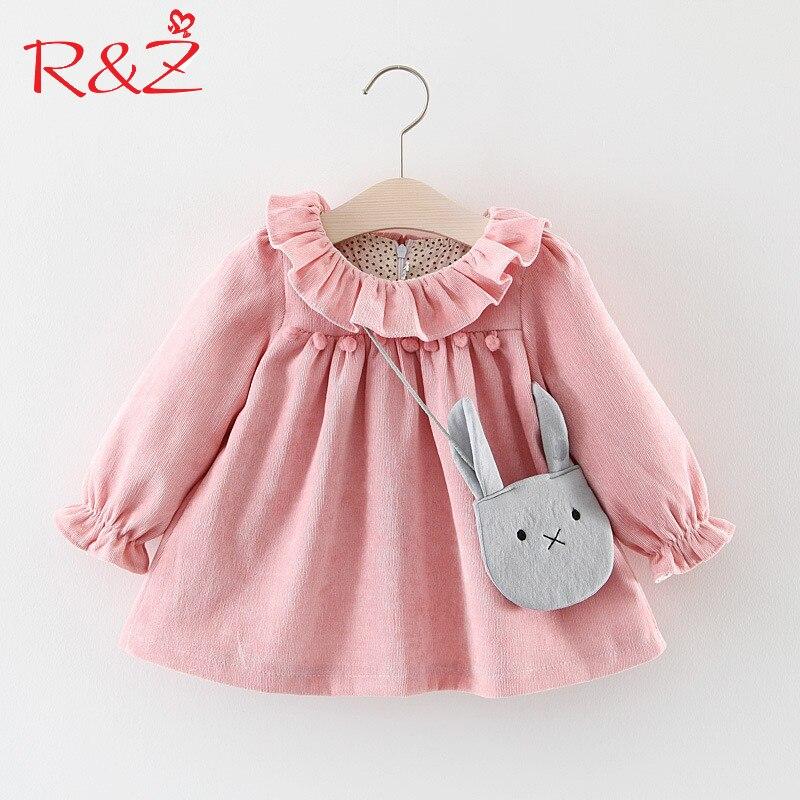 R&Z Baby Girls Dresses 2017 Autumn Lovely Long-sleeved Lotus Leaf Collar Pocket Doll Dress + Bag 2Pcs Kids Children Clothing