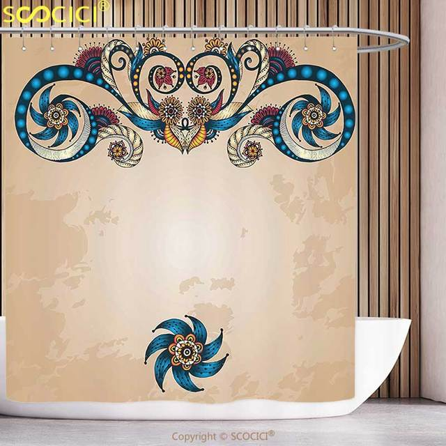 Polyester Shower Curtain Ethnic Floral Vintage Background With Oriental Inspired Flower Display Eastern Art Graphic Multicolor