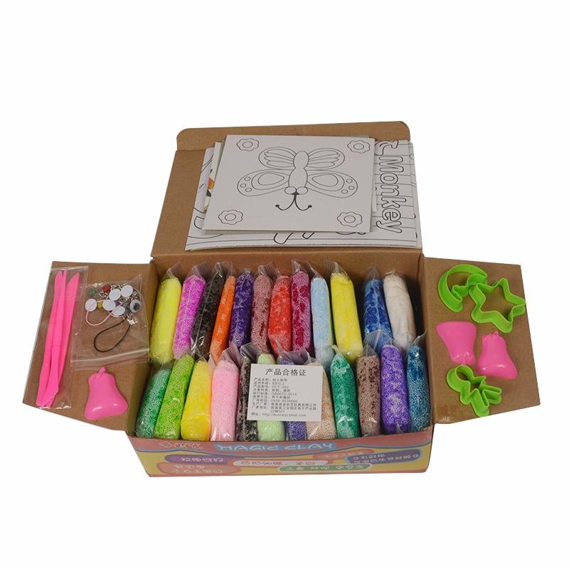 24pcs/set Handmade DIY Soft Polymer Foam Modelling Clay Set Snow Pearl Mud Playdough Educational Plasticine Toys for Children