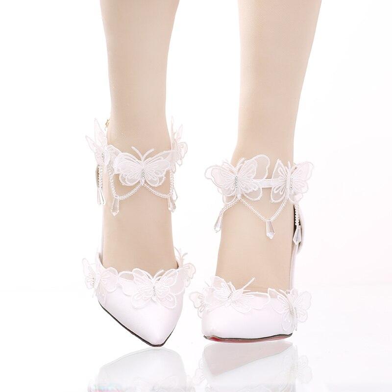 Chaussures Pendentif Talon Un Mariage Chaussure Caractère Fine Papillon Ultra De Pointe Sandales Dentelle En haut Femme Bracelet Cristal Mariée 7S65Hzwq
