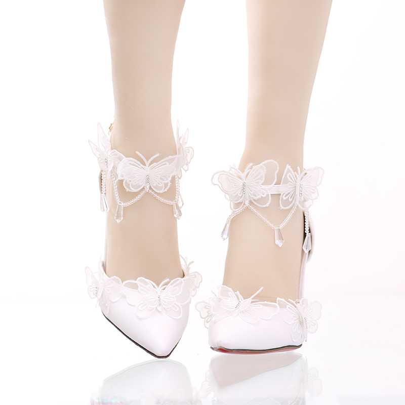 lace butterfly crystal pendant bride's shoe tip fine heel ultra-high heel wedding shoe one-character wristband female sandals 2017 white lace butterfly crystal pendant with ultra fine pointed high heeled shoes the bride wedding shoes wristband sandals