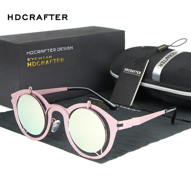 HDCRAFTER Colorful Transparent Vintage Round Sunglasses Women Mercury Coating Sun Glasses Female Oculos De Sol Feminino Gafas