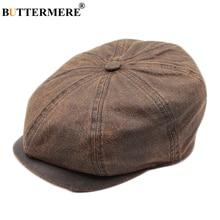 BUTTERMERE Men's Newsboy Hats Dark Brown Flat Caps Male Cotton Washed Duckbill Hat Vintage Spring Painter British Octagonal Cap цена