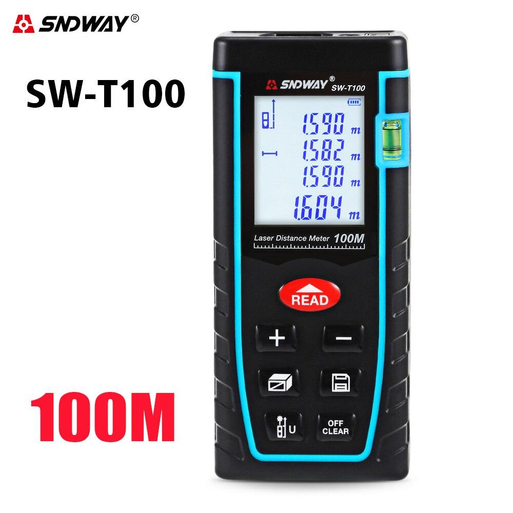 SNDWAY medidor de distancia láser Digital 40 m 60 M 80 m 100 M Trena cinta de láser medida telémetro dispositivo regla herramienta de prueba