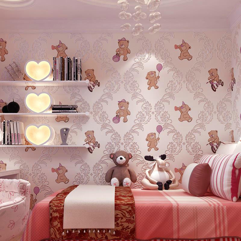 цена на 3D Embossed Bear Wallpaper Rolls Girls And Boys Children's Bedroom Cartoon Wall Paper Non-woven Eco-friendly Wall Covering Decor