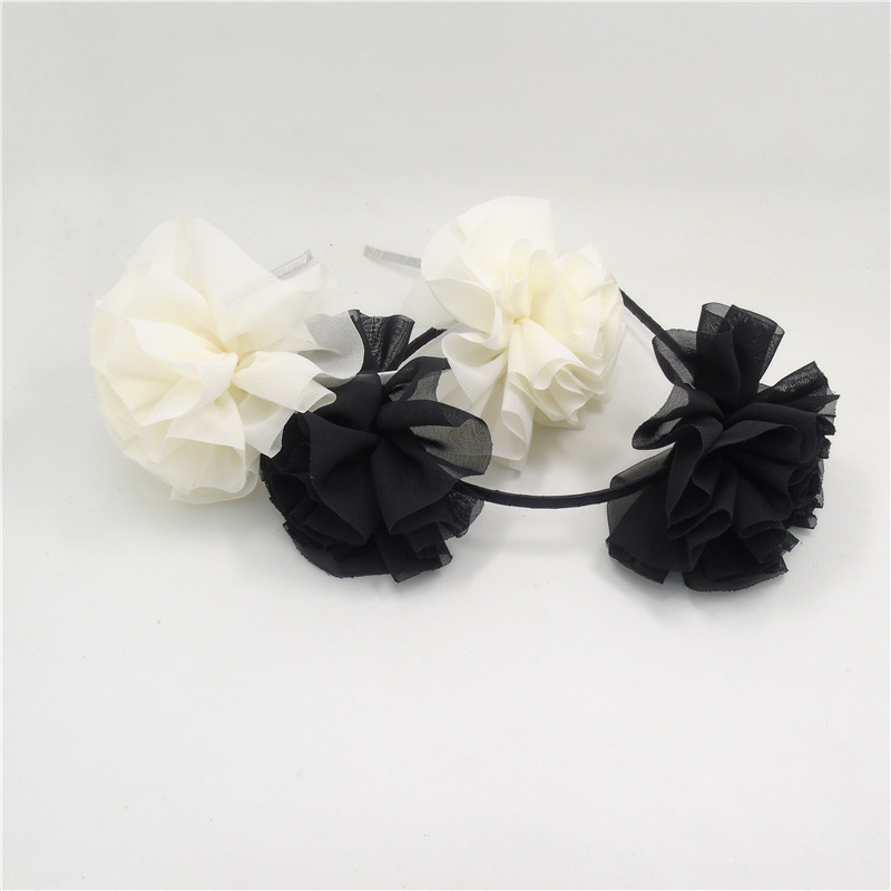 2pclot black and white flower hairband bridal summer headband 2pclot black and white flower hairband bridal summer headband bridesmaid chiffon floral head band princes party favor head wear in hair accessories from mightylinksfo