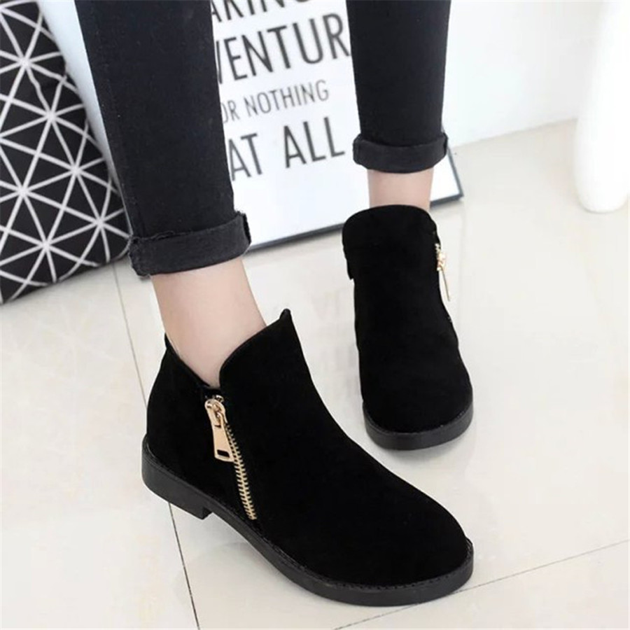 15% OFF New autumn and winter Martin boots for women low tube low-heeled boots metal side zipper fashion womens shoes