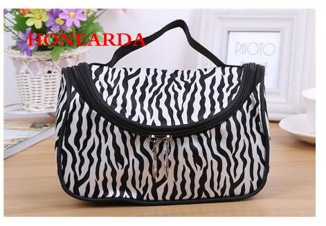 Wholesale Portable Waterproof Women Makeup Bag Zebra Organizer Cosmetic Bag Travel Pouch 50PCS/lot