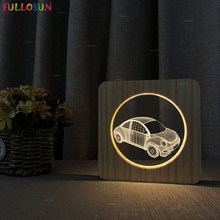 Nordic Fashion LED Wooden Table Lamp for Bedroom Car Style LED 3D Acrylic Light USB Lamp Christmas Kids Gift beiaidi 3d vision acrylic table lamp 3d owl butterfly led night light creative wooden bedside lamp for christmas birthday gift