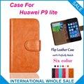 Hot!! 2016 para huawei p9 lite case, 6 cores de couro de alta qualidade caso exclusivo para huawei p9 lite tampa saco do telefone de rastreamento