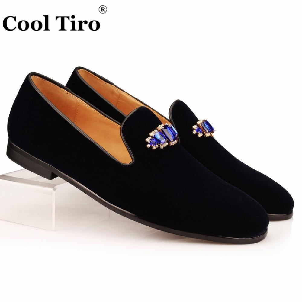07f85b5e55388 Cool Tiro Blue Crystal Brooch Men Slippers Navy Velvet Loafers Men's Dress  Shoes Wedding Moccasins Formal Flats Genuine Leather