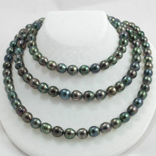 FREE SHIPPING>@@> N1572 12-13MM NATURAL tahitian black green pearl necklace 48inchFREE SHIPPING>@@> N1572 12-13MM NATURAL tahitian black green pearl necklace 48inch