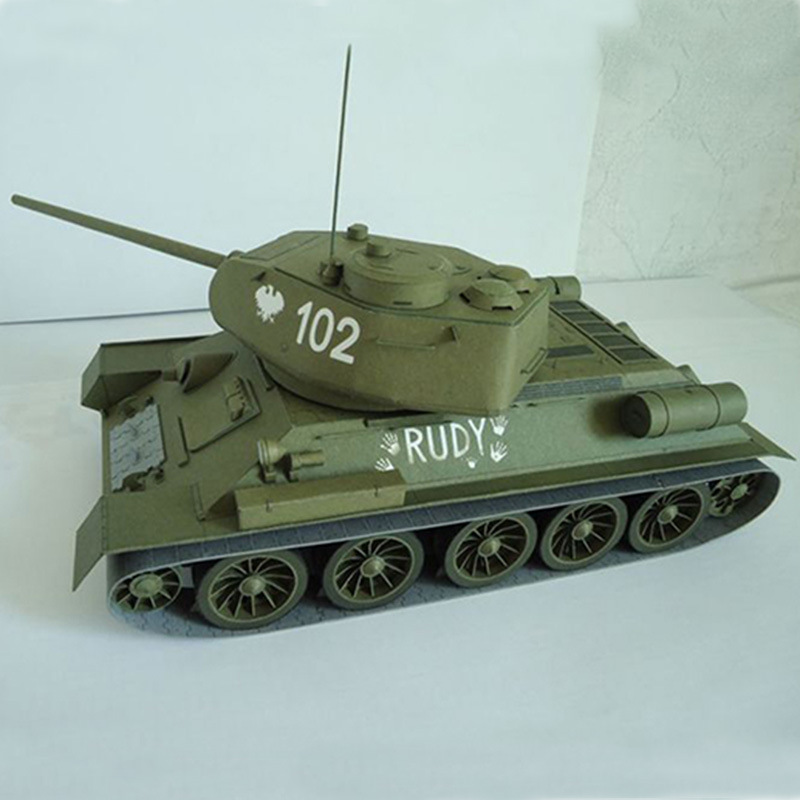 <font><b>1</b></font>:<font><b>25</b></font> Paper Model Soviet T-34 Medium Tank 3D Paper Model Tank World T-34/85 Military Fan Manual DIY Military Collection Gift image
