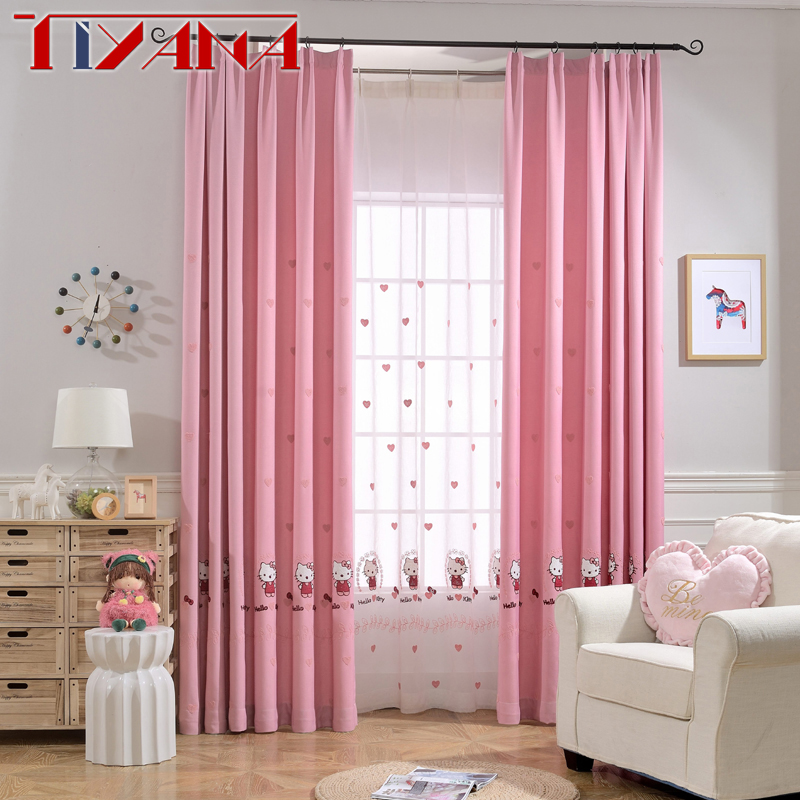 Princess Girls Room Valance Cutains Amazom: Pink Princess Cartoon Cat Curtains For Living Room
