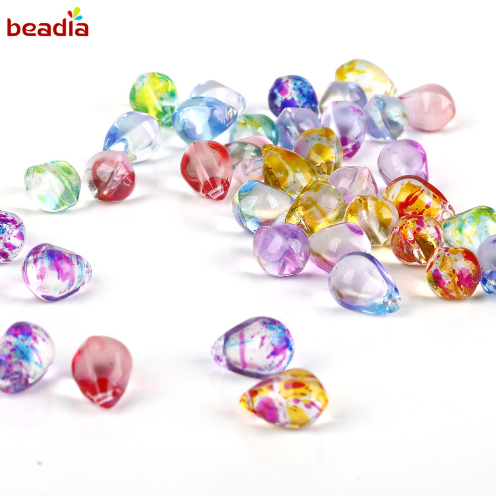 5Pcs Mixed Czech Glass Oval Loose Big Hole Charm Spacer Beads DIY Jewelry Making