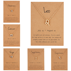 Female Elegant Star Zodiac Sign 12 Constellation Necklaces Pendant Charm Gold Chain Choker Necklaces for Women Jewelry Cardboard