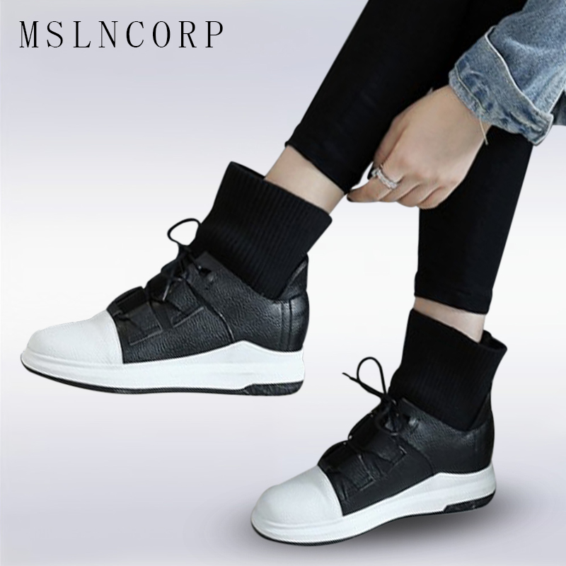 Plus Size 34-43 Women High-TOP Boots Fashion Casual Shoes Boots Punk Sneaker Lace-up Flats Black White Shoes stylish Winter shoe