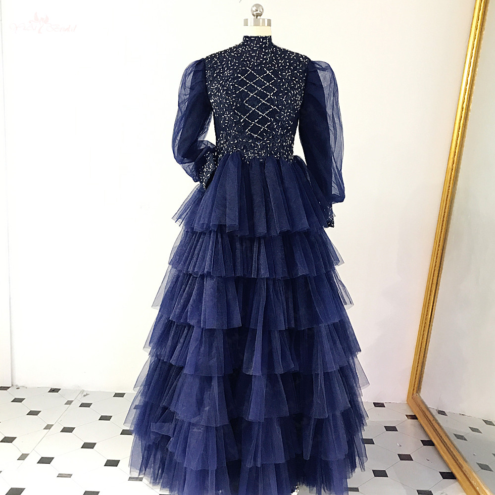 US $14.14 RSE8814 Modest Long Sleeves Abendkleider Ballkleider Robe De  Soiree Ball Gown Tiered Ruffles Skiret Tulle DressProm Dresses -  AliExpress