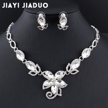 jiayijiaduo 2017 Jewellery sets for women wedding for brides wedding accessories Silver color Charm flower crystal necklace set