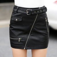 2017 Spring Women's Leather Skirt Fashion Zipper Pockets A line Empire Pu Package Hip Motorcycle Leather Short Skirts Womens
