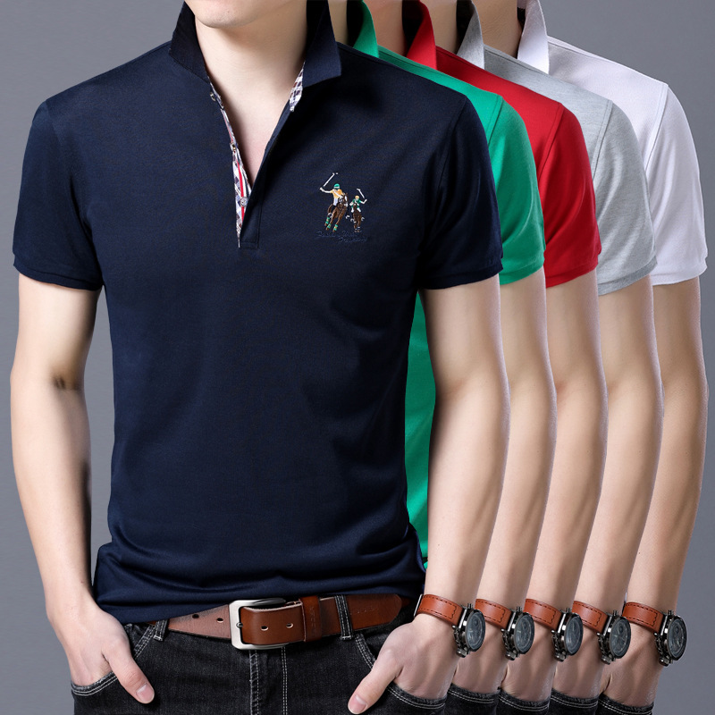 2019 Mens   Polo   Shirt Brands Male Short Sleeve Casual Slim Solid Color Horse Embroidered   Polo   shirt