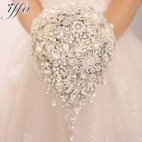Серебряная брошь букет высокая конец Пользовательские Свадебные букеты кристалл алмаза teardrop стиль букет невесты свадебные украшения