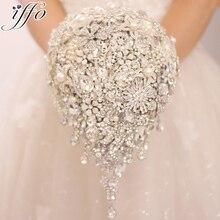 Zilveren broche boeket high end custom wedding bruidsboeketten crystal diamond teardrop stijl Bruid Boeket bruiloft decoratie